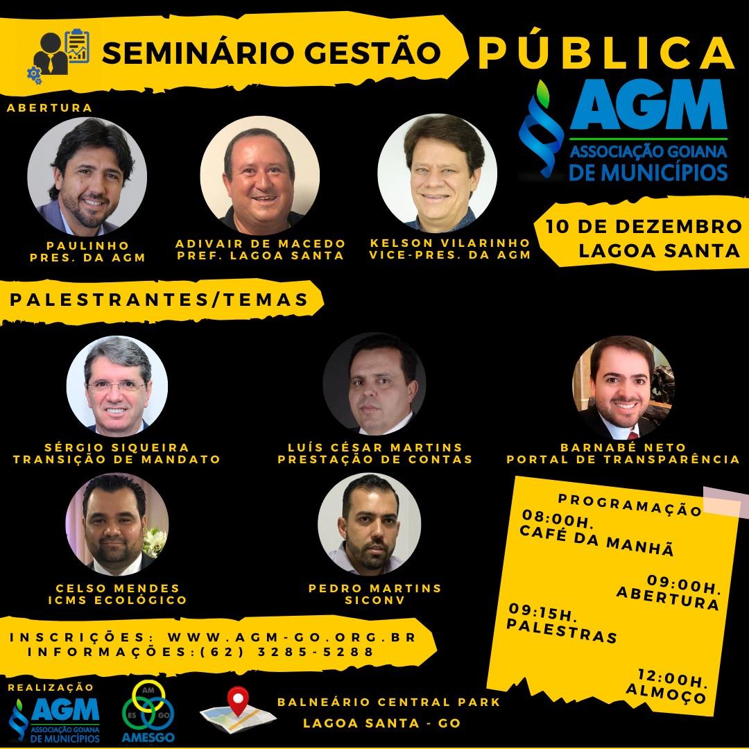 Seminário Gestão Pública AGM – Lagoa Santa – GO (Região Sul)