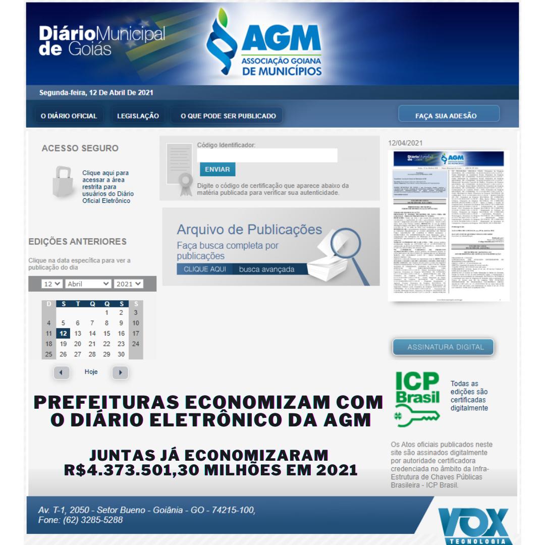 Prefeituras economizam com o Diário Eletrônico da AGM